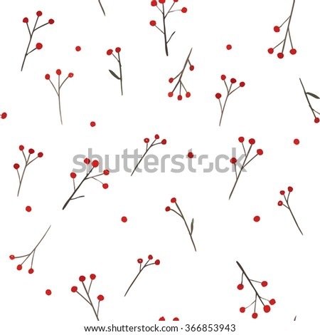 Branch with red berries. Vector seamless pattern. - stock vector
