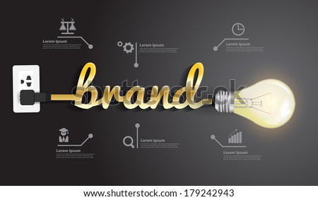 Brand concept, Creative light bulb idea abstract infographic  layout, diagram, step up options, Vector illustration modern design template - stock vector