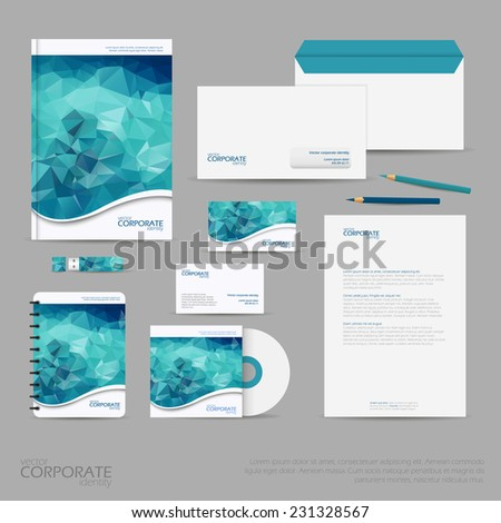 Brand identity company style template demonstrated on mobile devices office supplies and stationery for businesses with polygonal background - stock vector