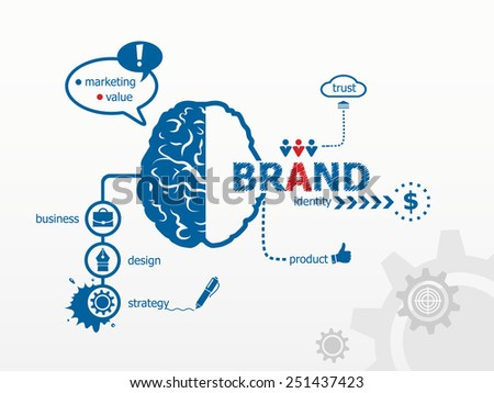 Branding concept for efficiency, creativity, intelligence, professional staff. - stock vector