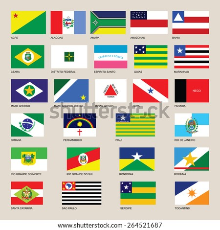 Brasil.Brazil symbols and states flags. Brazil flag vector, Original and simple Brazil state flag collection isolated vector in official colors and Proportion Correctly   - stock vector