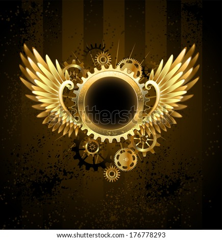 Brass round banner with metal wings and brass gears on striped Steampunk Background. - stock vector