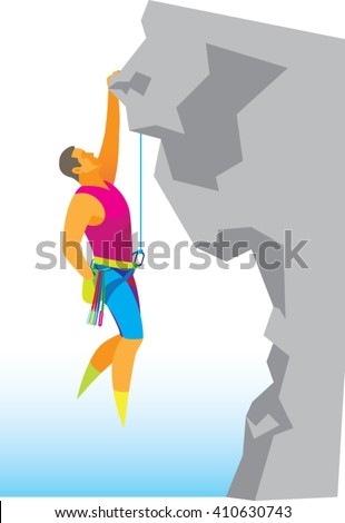 brave climber ascends a steep rock - stock vector