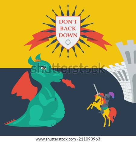 brave knight and dragon in trendy flat style - stock vector