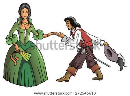 Brave musketeer shows reverence to the Queen, vector illustration   - stock vector