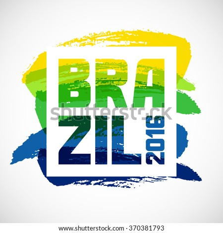 Brazil abstract background with grunge paint strokes in color of flag. Design for covers, brochure, advertising banner. - stock vector