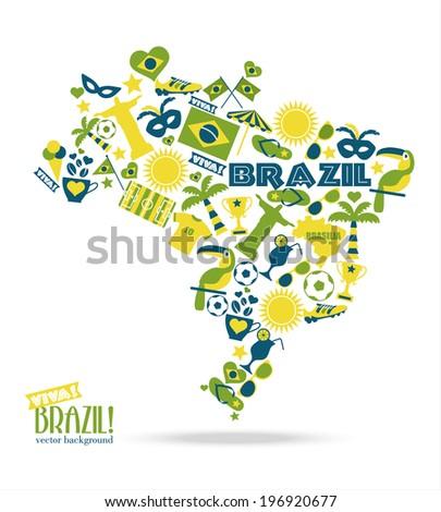 Brazil background. Illustration map of Brasil. - stock vector