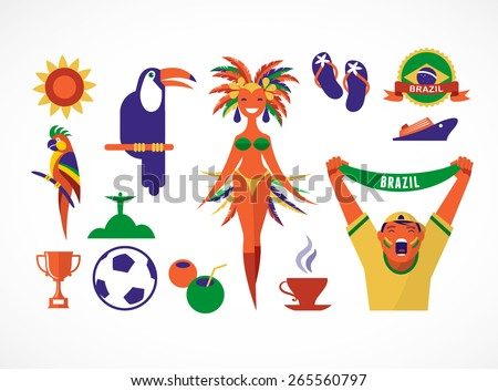Brazil. Collection of icons and illustrations - stock vector