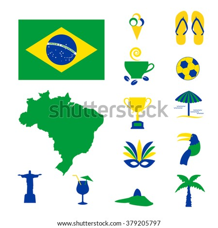 Brazil colorful computer icons - stock vector