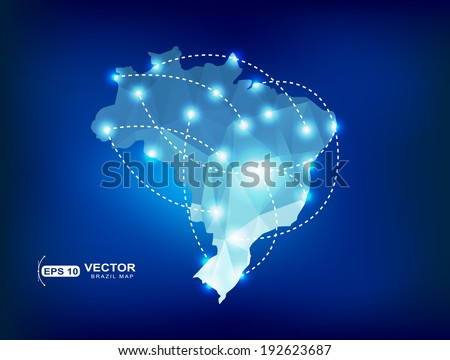 Brazil country map polygonal with spot lights places - stock vector