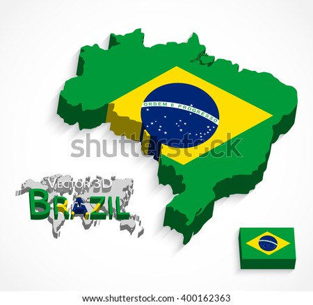 Brazil 3D ( flag and map ) ( Transportation and tourism concept ) - stock vector