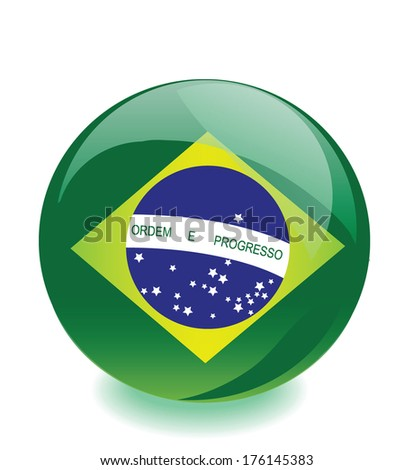 Brazil flag ball vector - stock vector