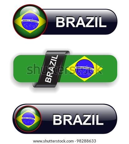 Brazil flag banners, icons theme. - stock vector