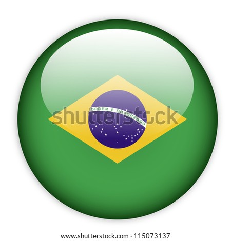 Brazil flag button on white - stock vector