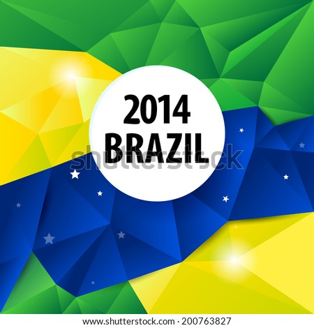 Brazil flag color abstract geometric background, vector illustration. - stock vector
