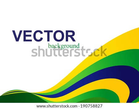 Brazil flag concept creative colorful wave isolated on white background - stock vector