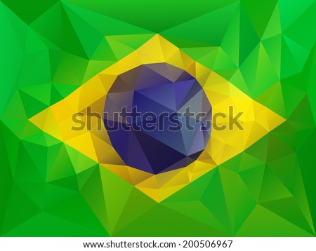 Brazil flag low poly illustration - stock vector