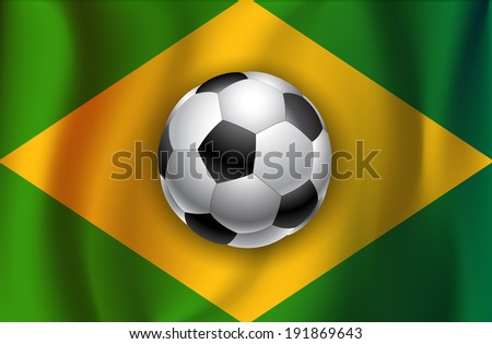 Brazil flag, satin texture with football  ball - stock vector