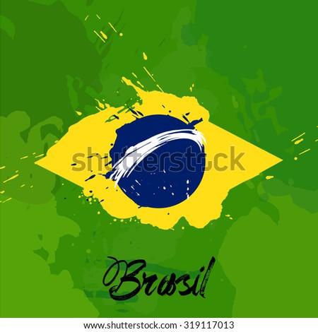 brazil flag with color splash  - stock vector