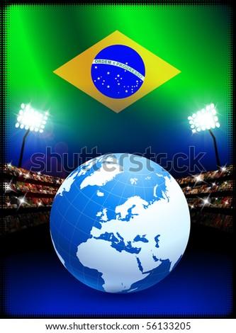 Brazil Flag with Globe on Stadium Background Original Illustration - stock vector