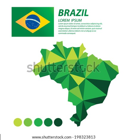 Brazil geometric concept design - stock vector