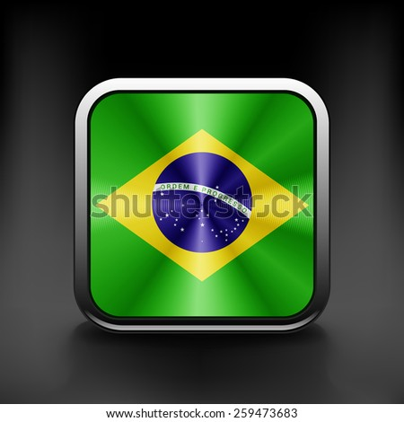 Brazil icon flag national travel icon country symbol button. - stock vector