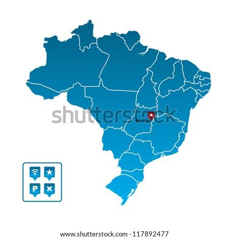 Brazil Map - stock vector
