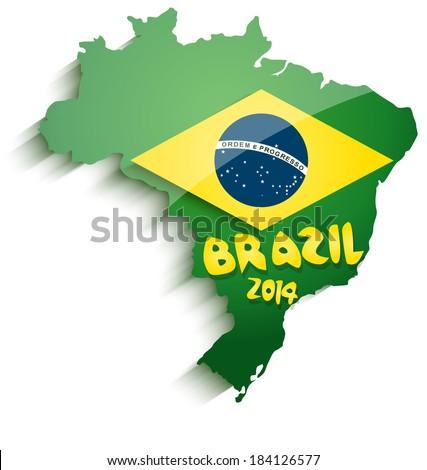 Brazil map 2014 - stock vector