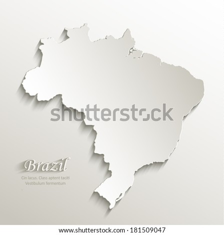 Brazil map card paper 3D natural vector - stock vector