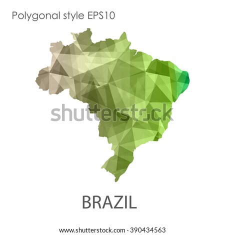 Brazil map in geometric polygonal style.Abstract gems triangle,modern design background. Vector illustration EPS10 - stock vector