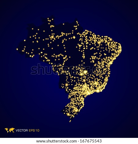 Brazil map night light in vector format - stock vector
