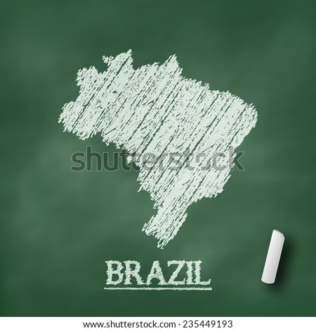 Brazil map on chalkboard green in vector format - stock vector