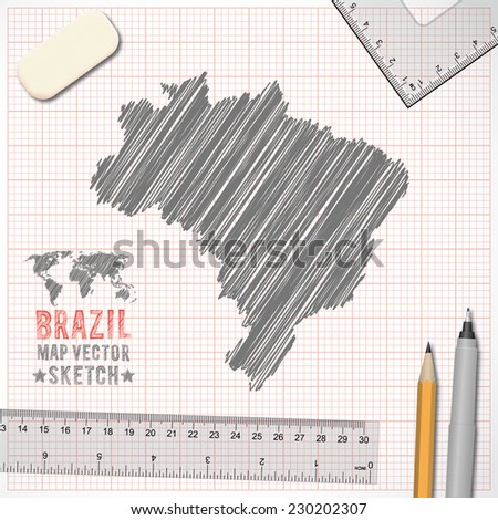 Brazil map sketch effect on graph paper background in vector format - stock vector