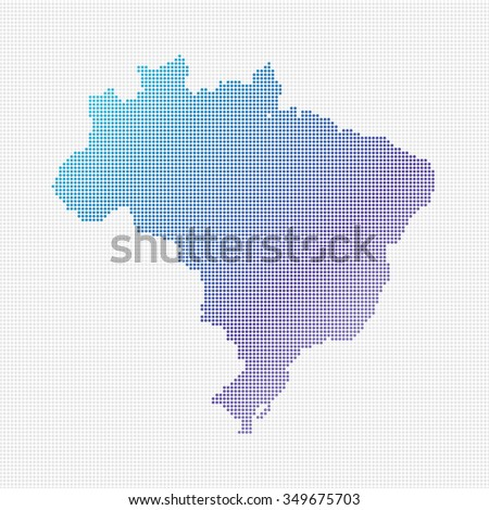Brazil Map Vector (small dots objects) - stock vector