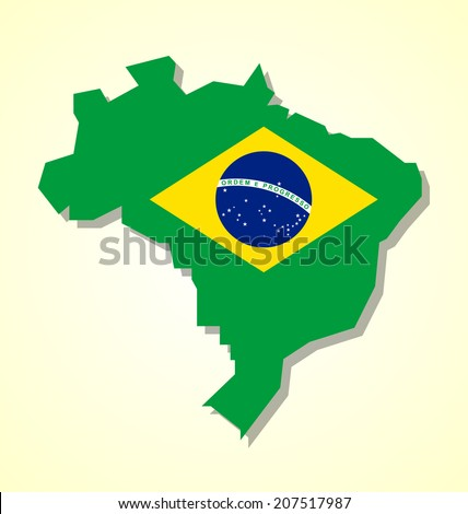 Brazil map with brazilian national flag inside of shape isolated on pale yellow background - stock vector