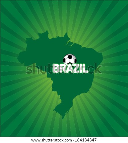 Brazil map with soccer ball vector artwork - stock vector
