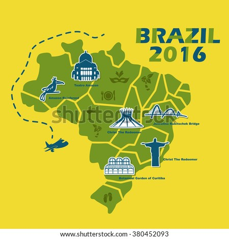 Brazil map with 2016 text, great for your design - stock vector