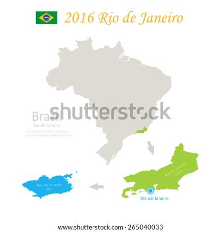 Brazil Rio de Janeiro state city Brazil map vector - stock vector