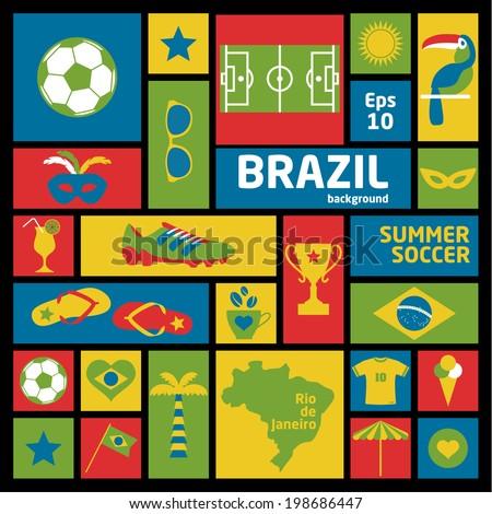 Brazil set. Vector elements for your design. - stock vector