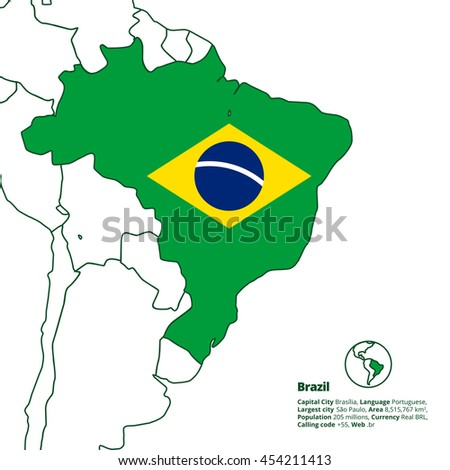 Brazil silhouette with simplified national flag and other latin america countries in outline. World map series.  - stock vector