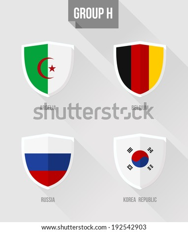 Brazil Soccer Championship 2014. Flat icons for Group H nation flags in shield sign: Algelia, Belgium, Russia, Korea Republic. EPS10 vector with transparency organized in layers for easy editing. - stock vector