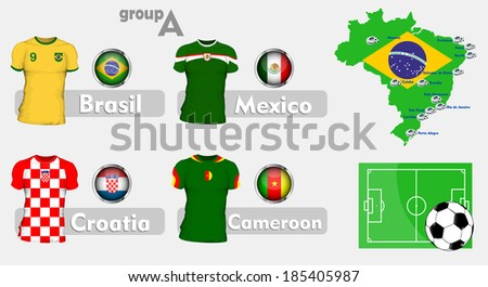 Brazil soccer championship group - stock vector