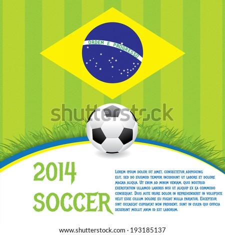 Brazil Soccer green background  - stock vector