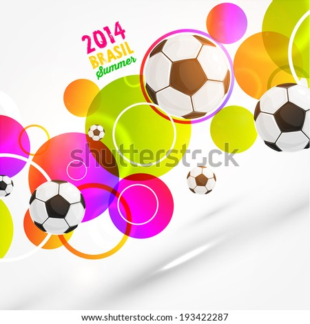 Brazil Summer 2014 Vector, Soccer Ball for Football Design - stock vector