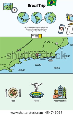 Brazil Trip. Web banners and illustrations for Brazil and Rio de Janeiro tours. - stock vector
