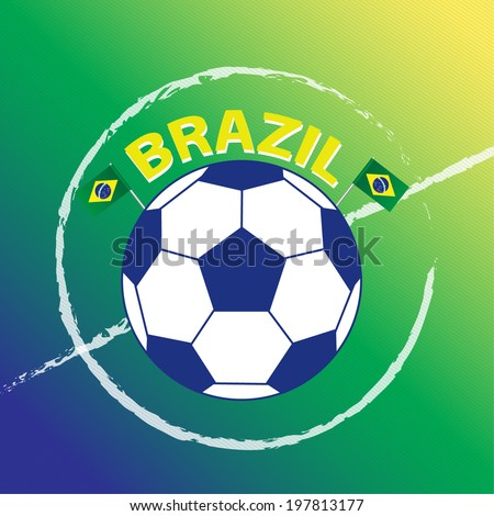 Brazil  Vector: A Watercolor Styled Football Field with A Football - stock vector