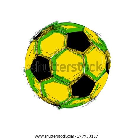 Brazil vector black grunge soccer ball on white  easy all editable - stock vector