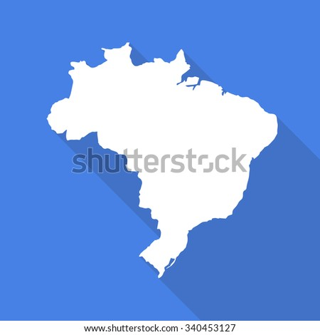Brazil white map,border flat simple style with long shadow on blue background - stock vector