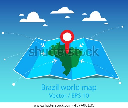 Brazil world map. Vector illustration. - stock vector