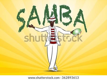 Brazilian black man, Malandro, dancing samba man, Malandro, dancing samba on a yellow background. - stock vector